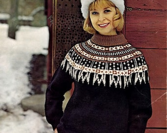 PDF Knitting Pattern for a Nordic or Fair Isle 'Icicle' Yoked Winter Jumper - Instant Download