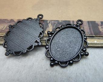 20 Pendant Trays Black Tone Bezel Setting Fitting 18x25mm Cabochon (YT8179)