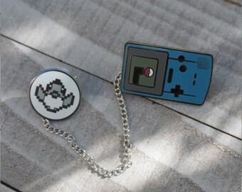 Blue | Gameboy Color Link & Sprite Pokemon Inspired Hard Enamel Collar Pin Set | Hand Made Pin | Pokemon Pin