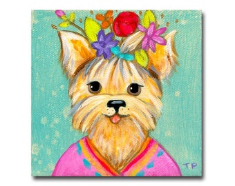 ORIGINAL yorkie dog painting cute little acrylic painting pet portrait yorkshire silk terrier dog with flowers by Tascha