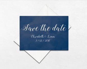 Midnight watercolour wedding save the date | Wedding save the dates | Watercolour wedding save the dates | MIDNIGHT |