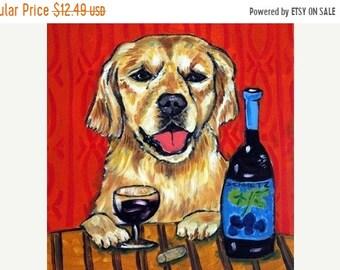 Golden Retriever, wine, wine art , wine print on tile, ceramic coaster, moedern dog , gift,