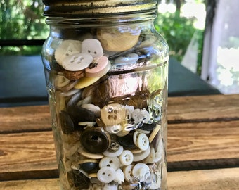 Atlas Mason Jar full of old buttons Vintage Bottle of Buttons Glass jar of buttons Farmhouse Primitive Decor