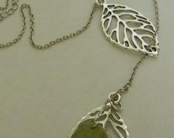 Elegant Silver Plated Leaf Necklace Handmade: Tarnish Resistant Silver Leaf Pendant Silver Chain Necklace -Silver Filigree Necklace Sale USA