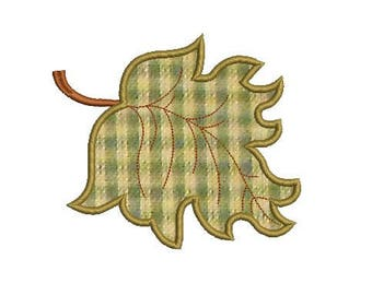 autumn leaf applique embroidery design