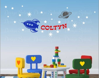 Vinyl Flash ROCKET SHIP Set Personalized Wall Decals, Boy's Room Decor, Baby Nursery Wall Art NK-101