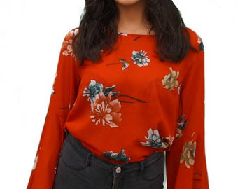 LIVE4TRUTH Red Floral Flared Sleeve Top