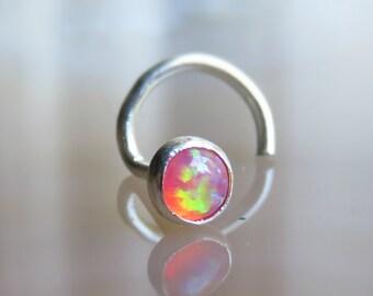 tiny fire opal nose stud, 3mm opal nose stud, nose screw