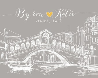 Venice Italy Italian Personalized Art Wedding Anniversary Gift, Honeymoon Engagement Present, Rialto Bridge, Skyline, Venetian Venezia
