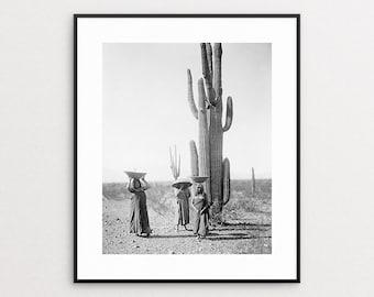 Black and White Cactus Print - Edward Curtis Print - Native American Art - Saguaro Cactus - Native American Photo - Southwest Decor
