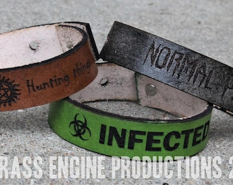 "3/4"" Adjustable Leather bracelet - Horror - Supernatural, Freddy, Jason, Cthulu - 6.75""-8.75"" - Color Choice"