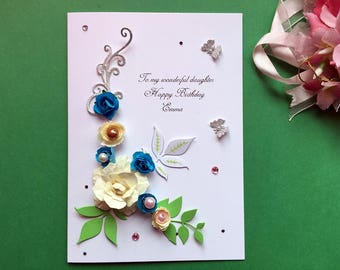 Handmade Personalised Birthday Card, Luxury Card, Greeting Card, Mum Wife Sister Daughter Auntie Wedding Card C140