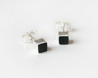 Black Sterling Silver cube stud earring