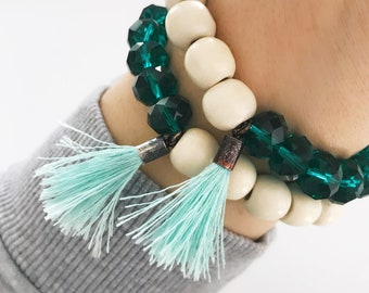 Sale! | Natural Beauty Beaded Bracelet with Tassel | Natural Bracelet | Tassel Bracelet | Louis and Finn Jewelry
