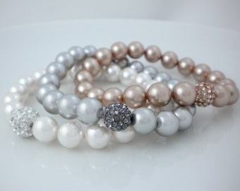 Swarovski pearl bracelet, stretch bracelet with rhinestone ball