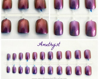 Duochrome Press On Nails | Color Shifting Nails | Chameleon Press On Nails | Two Tone Nails | Glue On Acrylic Nails | Handpainted Duochrome