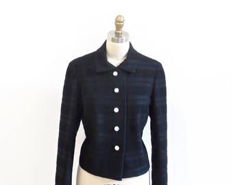 1960s Peter Pan Collar Textured Jacket / Black Monochrome Striped Jacket