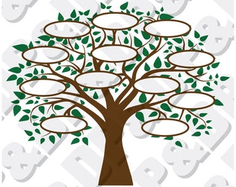 Family Tree 12 SVG, DXF Digital cut file for cricut or Silhouette svg, dxf - 12 Circles for Family Members