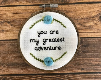 You are my greatest adventure - Moonrise Kingdom Cross Stitch