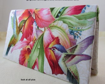 Hummingbird 3 Checkbook Cover - Coupon Holder - Multi Colors Hummingbirds and Flowers Check Book Cover - Hummingbird & Flowers Gift Idea