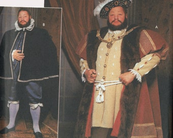 Medieval Renaissance King Henry VIII Coat, Cape, Hat Pattern Cosplay Simplicity 9650 Mens Sewing Pattern Size XL- XXL Uncut