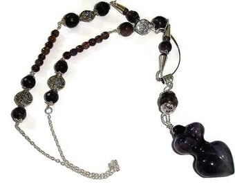 Amethyst Goddess Necklace Statement Necklace Large Goddess Necklace Purple Goddess Necklace Statement Gemstone Necklace Gemstones