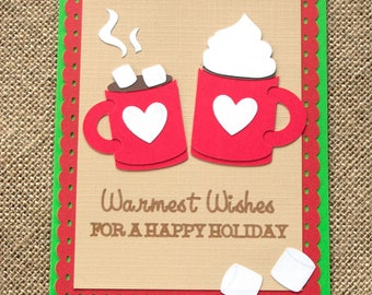 Christmas Hot Cocoa Mug Warmest Wishes 5 x 7 Handmade Card Finished