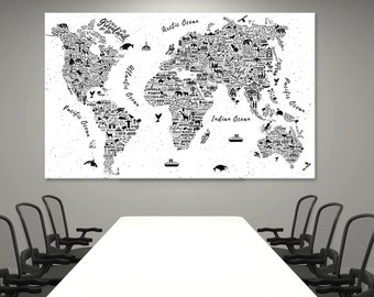 Custom canvas map etsy world map canvas world map poster world map print wall art custom world map large map gumiabroncs Image collections