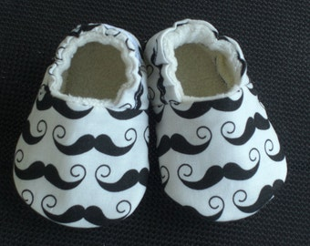 Baby Shoes, baby slippers, booties, baby Boy shoes, Mustache baby shoes, soft sole baby shoes, baby moccasins, baby crib shoes, baby shower