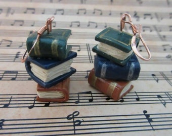 stacks of books earrings - old leatherbound hardcover - gold, silver striped bindings - worn pages - reading stories library
