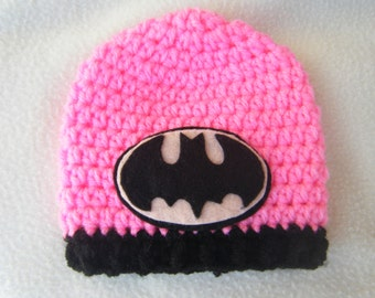 Crocheted Pink BatGirl Baby Hats - Made to Order