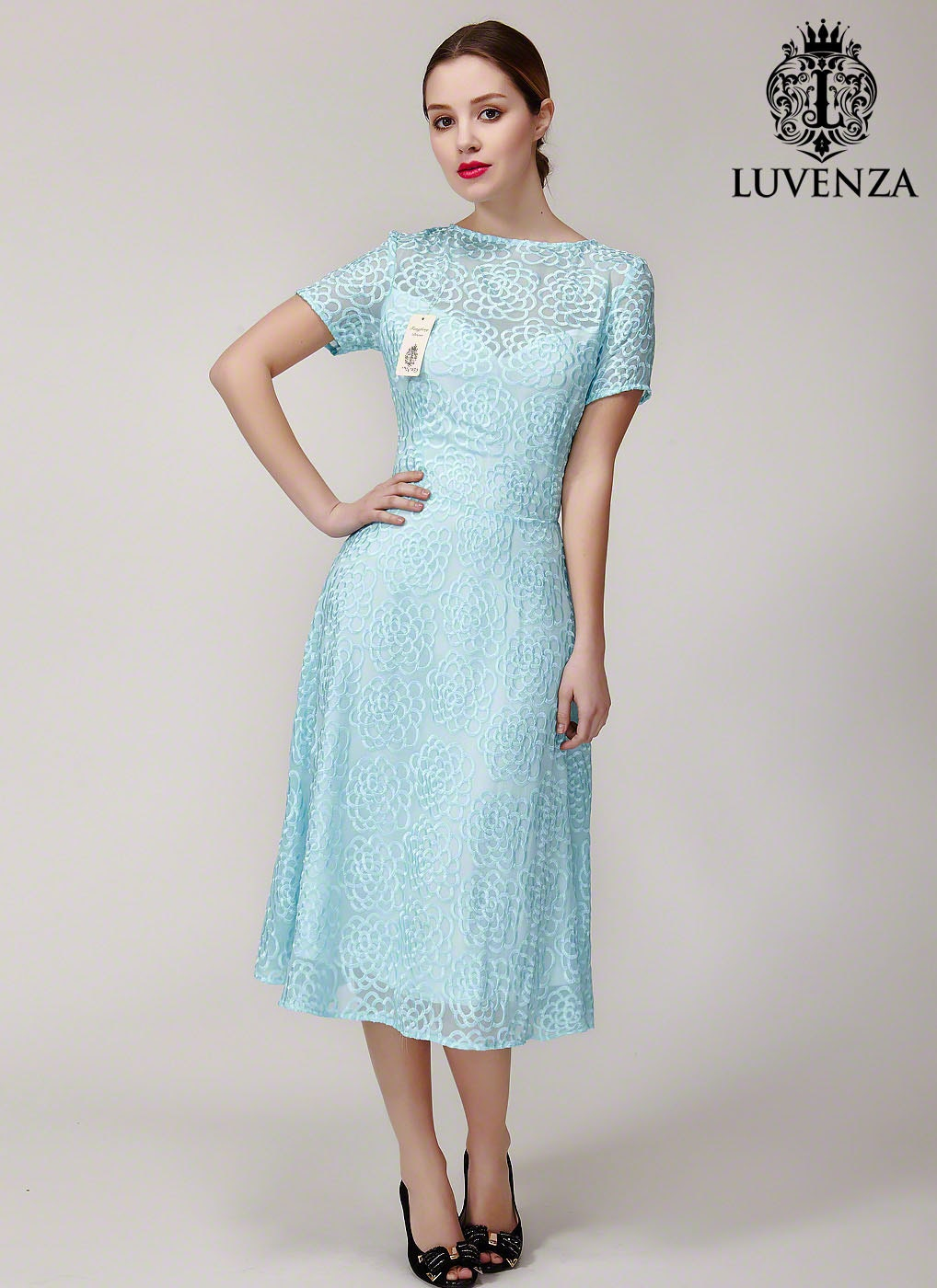 Pale Turquoise Silk Lace Prom Dress Elegant Silk Lace Tea