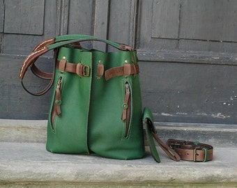 Handmade leather handbag Jenny green ladybuq art