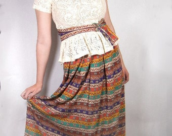 Print skirt of multicolored patterned stripes in rayon vintage from 1970s size 12 by TICA // brown purple red green