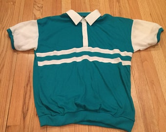 Vintage Sea Green Steeplechase Polo 70s 80s