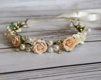 Handcrafted Champagne Cream Rose Flower Crown - Rhinestone Flower Crown - Pearl Flower Crown - Bridal Hair Wreath - Wedding Flower Crown