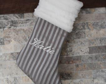 Silver Christmas Fur Stocking Gray Grey Personalized Monogram Striped Christmas Stocking, Fur Sparkling Stockings