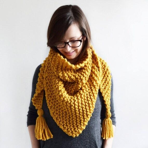Triangle Tassel Scarf // Knitting Pattern // Knit Scarf Pattern ...