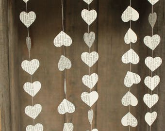 Paper Garland, Wedding Decoration, Book Page Garland, Sweetheart, Hearts Garland - SMALL hearts - 10 feet long