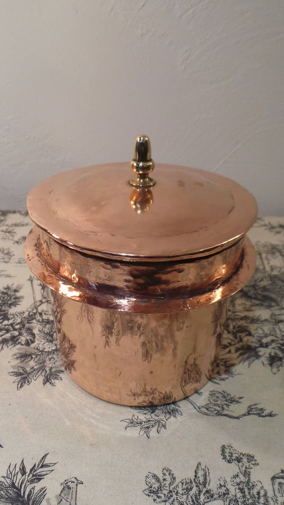 Vintage French Copper Canister Container with Snug Lid Made from Old Bain Marie Good Interior Marked Dented Real Upclycling
