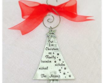 Personalized, Handstamped,  Family Christmas Tree Ornament