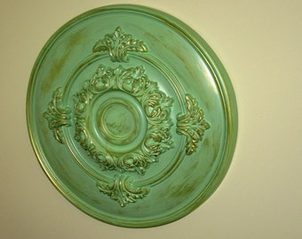 "Antiqued Wall or Ceiling Medallion, 14"" Ceiling Medallion, Ornate Medallion, ceiling medallion"