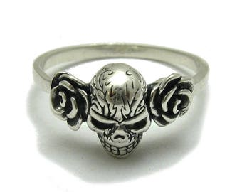 Sterling silver ring solid 925 skull and roses biker pendant