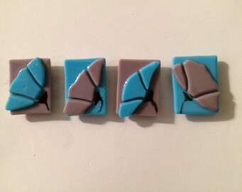 Stained Glass Flower Purple and Turquoise Kitchen Magnets Set of Four