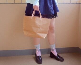 Tote Bag Medium : Tyvek and Kraft paper brown tote bag/market bag/handbags/lunch bag/washable bag and eco friendly