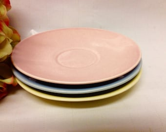 Mid Century Taylor Smith & Taylor LuRay Pastels Saucers (3) 1940s Collectible Replacements/Gift Idea/USA Made/American Potteries/Dinnerware