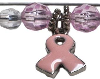 Pink Ribbon Hijab Pin Dangle Breast Cancer Awareness Pin