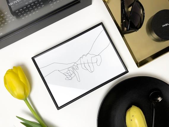 Single Line Art Print : Pinky swear printable one line drawing print black white