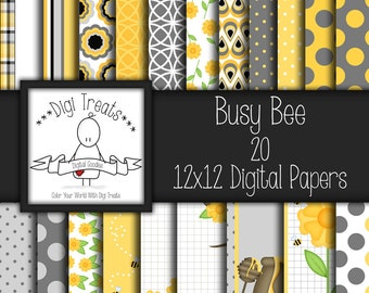 30% OFF~Busy Bee, Digital scrapbook paper, Bumble Bee, Yellow Grey & Black paper, Scrapbooking, Digital Paper,Instant Download