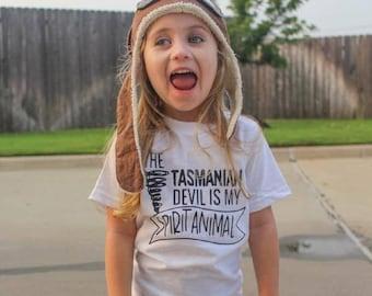 The Tasmanian Devil Is My Spirit Animal Kid's Trendy Tee Or Bodysuit Baby Toddler Boy Girl Clothing